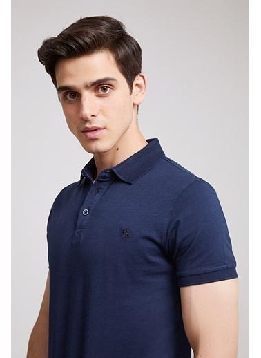 D'S Damat Slim Fit Pike Dokulu T-Shirt Lacivert